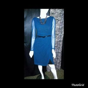 Maggy London Blue long sleeve lined dress
